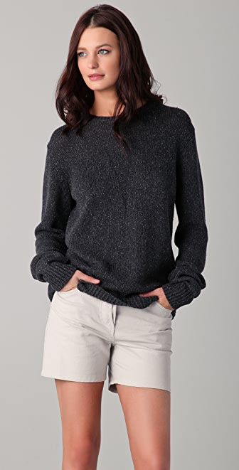 T by Alexander Wang Silk Cotton Crew Neck Pullover