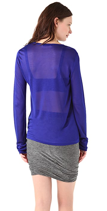 T by Alexander Wang Shiny Sheer Long Sleeve Tee