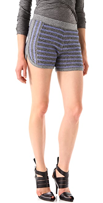T by Alexander Wang Striped French Terry Shorts