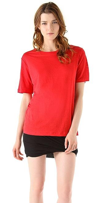 T by Alexander Wang Linen Silk Jersey Short Sleeve Sweater