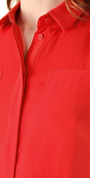 T by Alexander Wang Silk & Mesh Combo Shirtdress