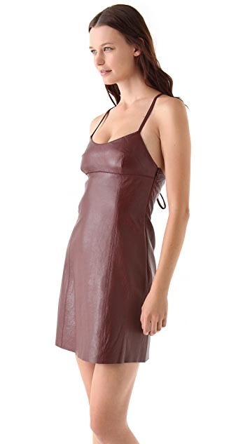 T by Alexander Wang Leather Spaghetti Strap Mini Dress