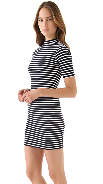 T by Alexander Wang Striped Cotton Dress with Short Sleeves