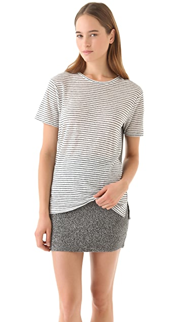 T by Alexander Wang Linen Stripe Tee With Contrast Back