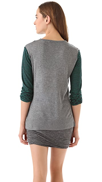 T by Alexander Wang Linen Stripe Combo Tee with Long Sleeves