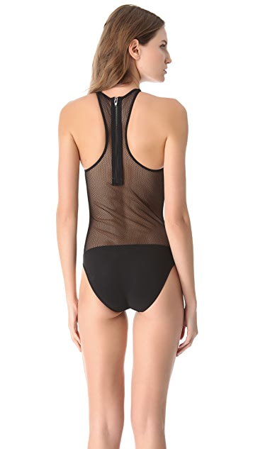 T by Alexander Wang Mesh Combo Swimsuit