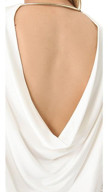 T by Alexander Wang Pique Drape Back Dress