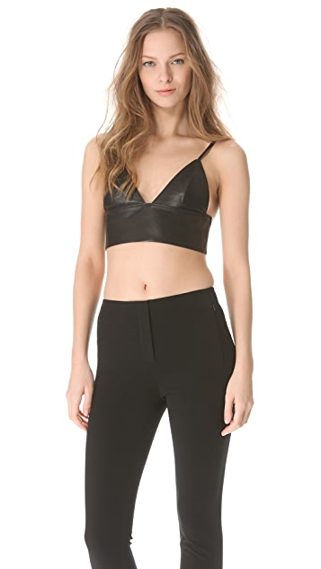T by Alexander Wang Leather Triangle Bralette