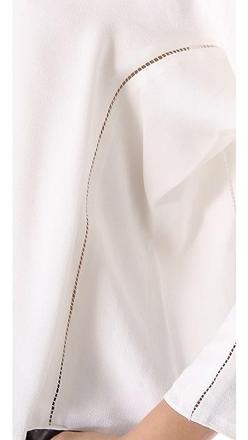 T by Alexander Wang Long Sleeve Lattice Stitch Top