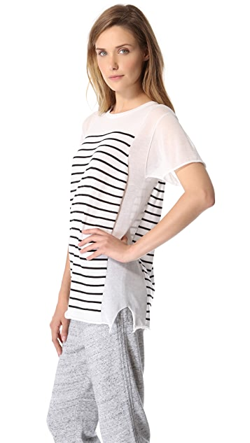 T by Alexander Wang Striped Panel Sweater with Short Sleeves