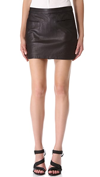 T by Alexander Wang Lightweight Leather Miniskirt
