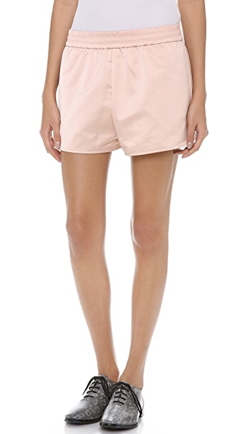 T by Alexander Wang Technical Memory Satin Track Shorts