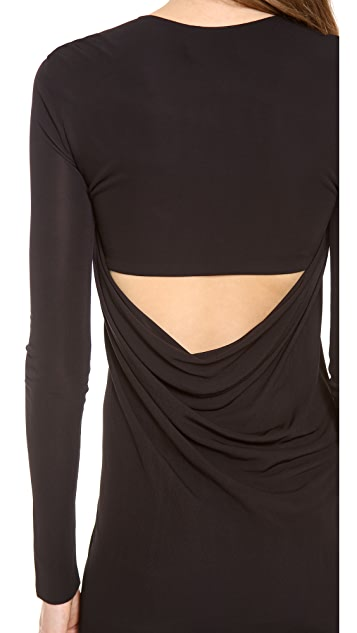 T by Alexander Wang Matte Jersey Longsleeve Back Cowl Mini Dress