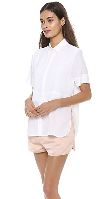 T by Alexander Wang Silk Chiffon Combo Short Sleeve Top