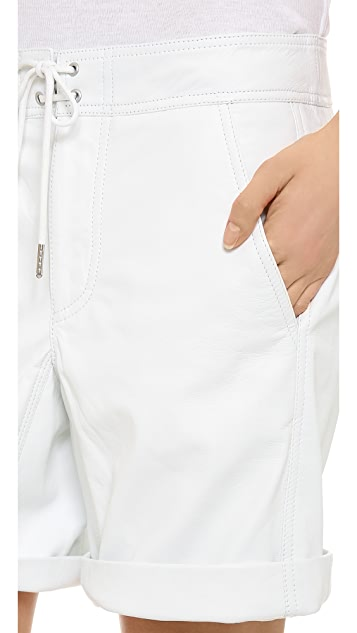 T by Alexander Wang Lightweight Leather Board Shorts
