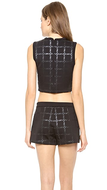 T by Alexander Wang Grid Gel Print Neoprene Cropped Tank
