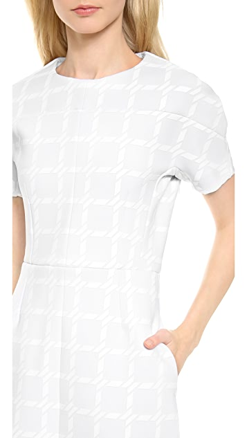T by Alexander Wang Grid Gel Print Neoprene Shortsleeve Dress