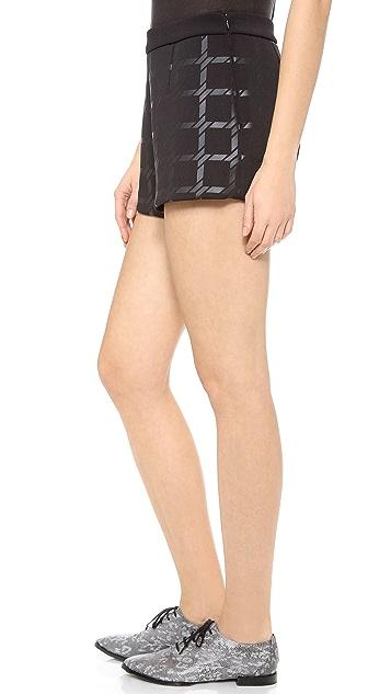 T by Alexander Wang Grid Gel Print Neoprene Shorts