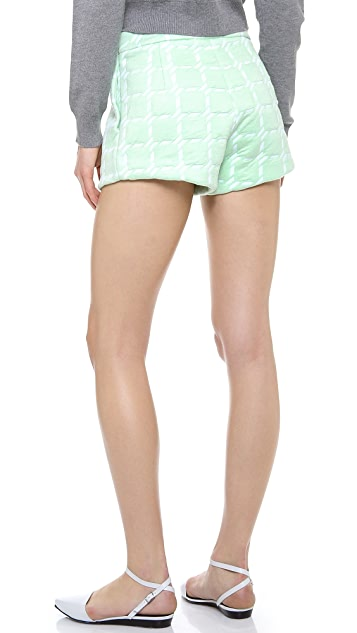 T by Alexander Wang Grid Jacquard Neoprene Shorts