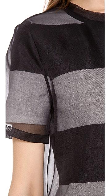 T by Alexander Wang Organza Overlay Striped Knit Tee Dress