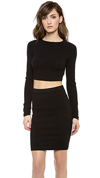 T by Alexander Wang Long Sleeve Cropped Sweater