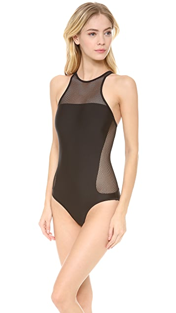 T by Alexander Wang Mesh Combo Crew Racer Back One Piece Swimsuit