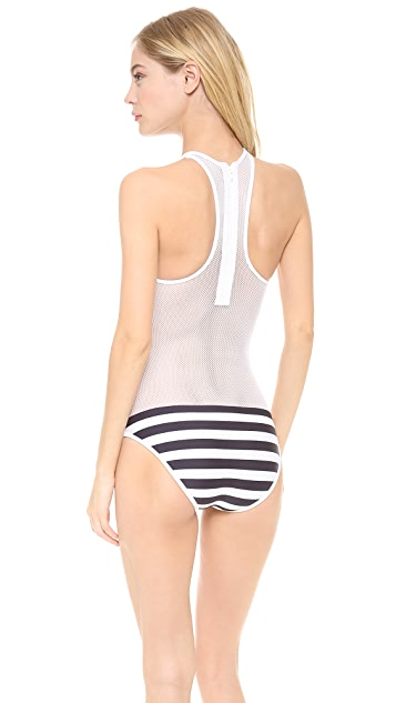 T by Alexander Wang Stripe Mesh Combo One Piece Swimsuit