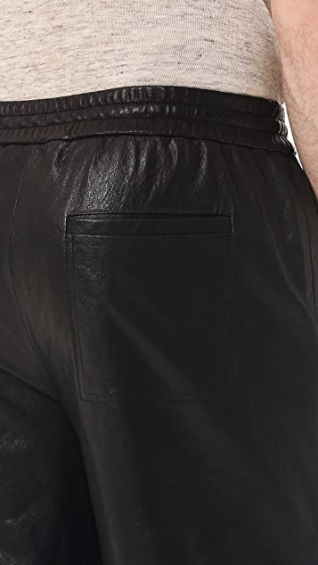 T by Alexander Wang Washed Leather Shorts