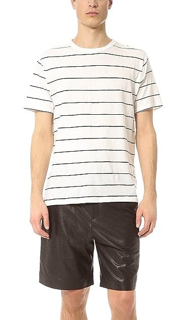 T by Alexander Wang Linen Stripe Short Sleeve Tee