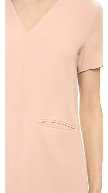 T by Alexander Wang Drape Suiting V Neck Dress