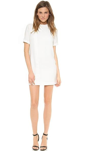 T by Alexander Wang Draped Suiting Short Sleeve Dress