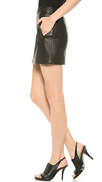 T by Alexander Wang Leather Zip Skirt with Patch Pockets