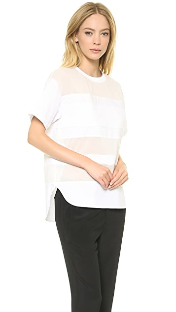 T by Alexander Wang Cotton Poplin Stripe Tee