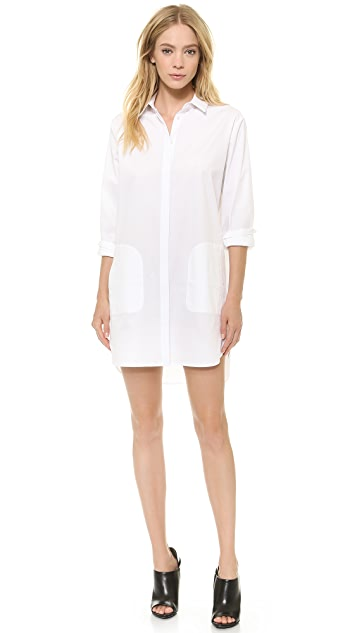 T by Alexander Wang Cotton Poplin Long Sleeve Shirtdress