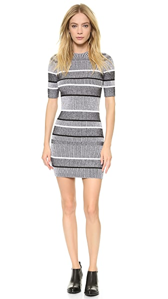 T by Alexander Wang Rib Knit Short Sleeve Dress