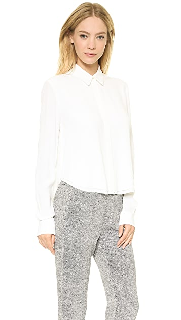 T by Alexander Wang Raw Hem Cropped Shirt