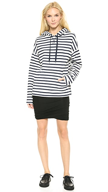 T by Alexander Wang Striped French Terry Hooded Sweatshirt