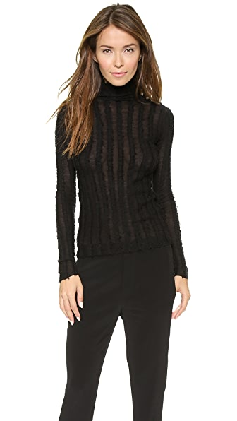 T by Alexander Wang Merino Frayed Stripe Knit Turtleneck
