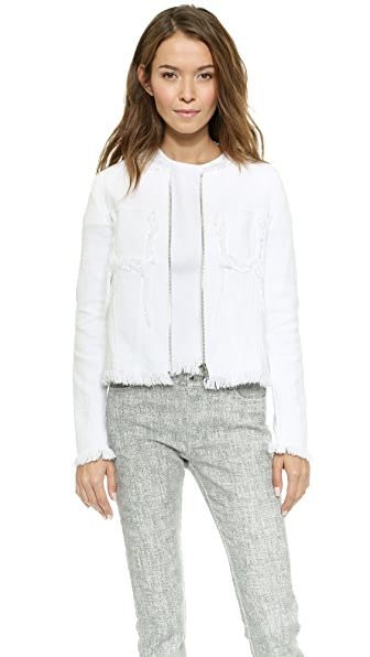 T by Alexander Wang Zip Up Jacket with Fray Details