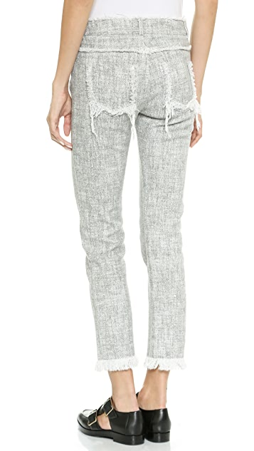 T by Alexander Wang Cutoff Pants with Fray Details