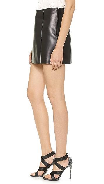 T by Alexander Wang Raw Edge Leather Miniskirt