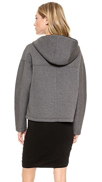 T by Alexander Wang Scuba Double Knit Hoodie with Leather Trim