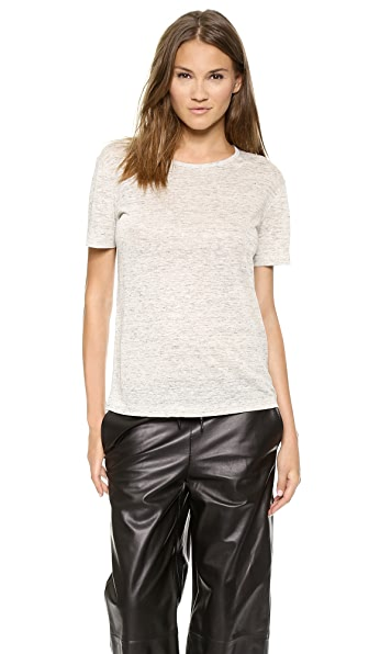 T by Alexander Wang Linen Short Sleeve Crew Neck Tee