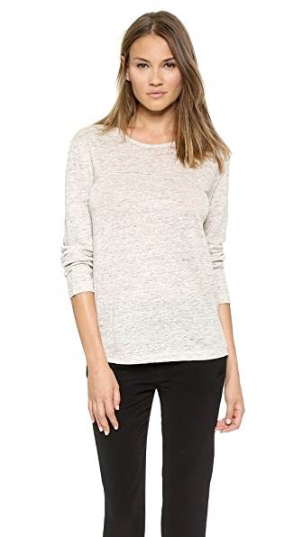 T by Alexander Wang Linen Long Sleeve Crew Neck Tee