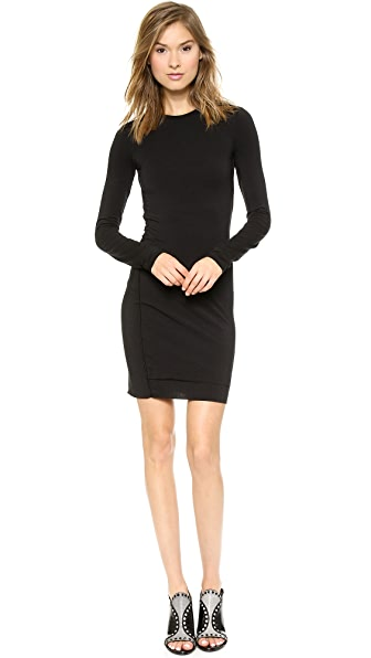 T by Alexander Wang Twist Draped Long Sleeve Dress