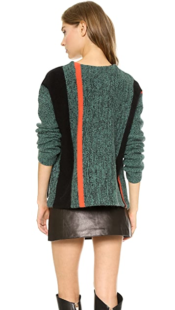T by Alexander Wang Boiled Tweed Lambswool Boxy Pullover