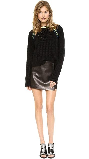 T by Alexander Wang Aran Knit Crop Pullover