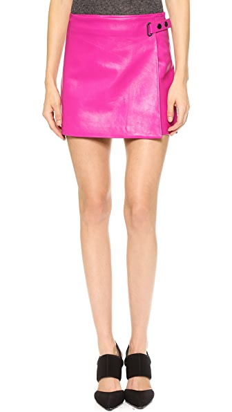 T by Alexander Wang Leather Wrap A Line Skirt