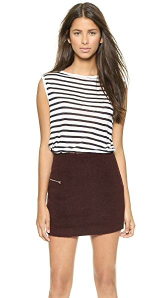 T by Alexander Wang Stripe Rayon Linen Boat Neck Sleeveless Tee
