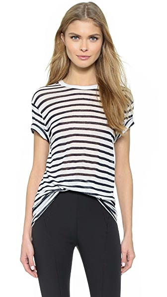 T by Alexander Wang Stripe Rayon Linen Short Sleeve Tee